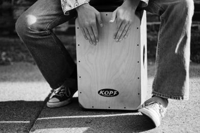 Playing-the-cajon